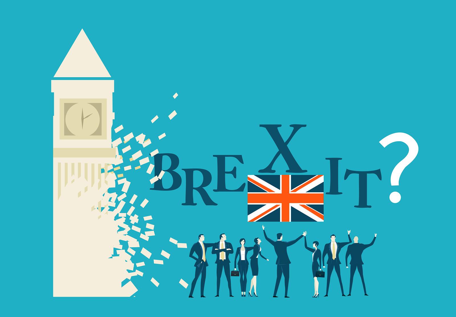 Brexit Or No Brexit Concept Illustration, group Of Pro Brexit members